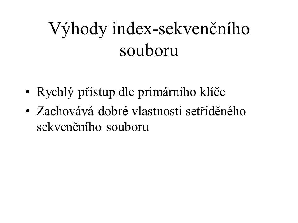 Výhody index-sekvenčního souboru Rychlý přístup dle primárního klíče Zachovává dobré vlastnosti setříděného sekvenčního souboru