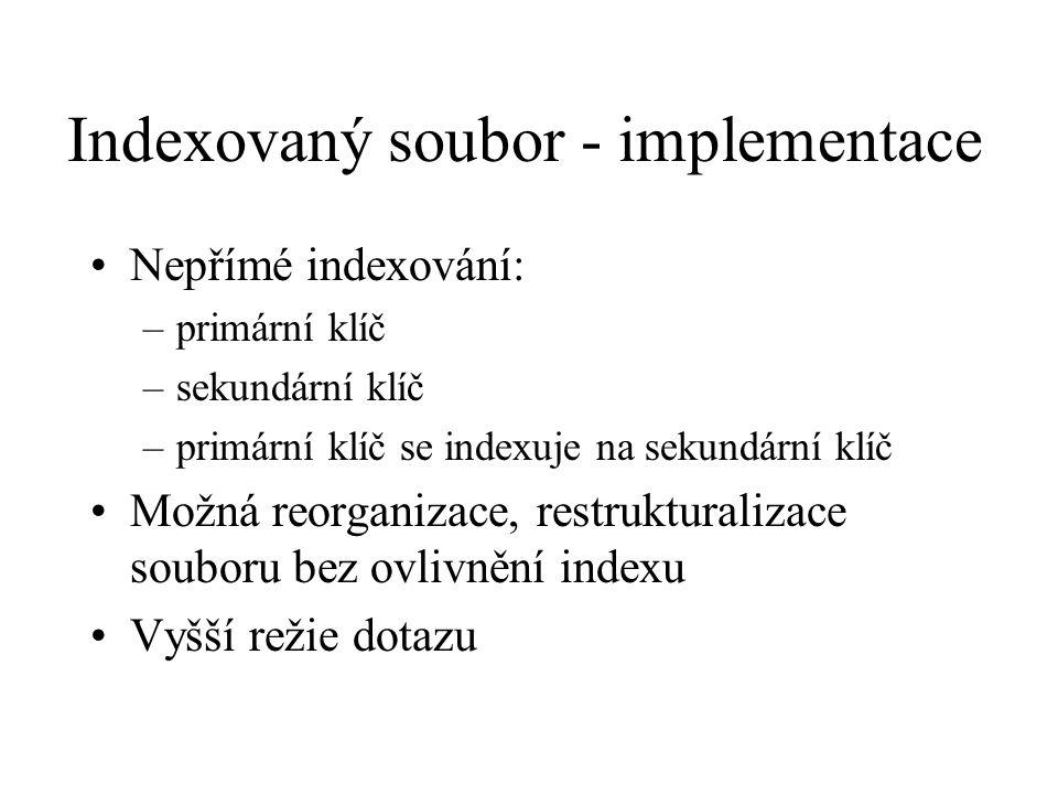 Indexovaný soubor - implementace Nepřímé indexování: –primární klíč –sekundární klíč –primární klíč se indexuje na sekundární klíč Možná reorganizace, restrukturalizace souboru bez ovlivnění indexu Vyšší režie dotazu