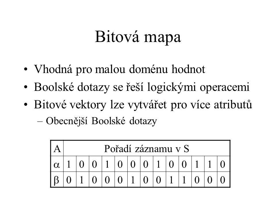 Bitová mapa Vhodná pro malou doménu hodnot Boolské dotazy se řeší logickými operacemi Bitové vektory lze vytvářet pro více atributů –Obecnější Boolské dotazy APořadí záznamu v S  1001000100110  0100010011000