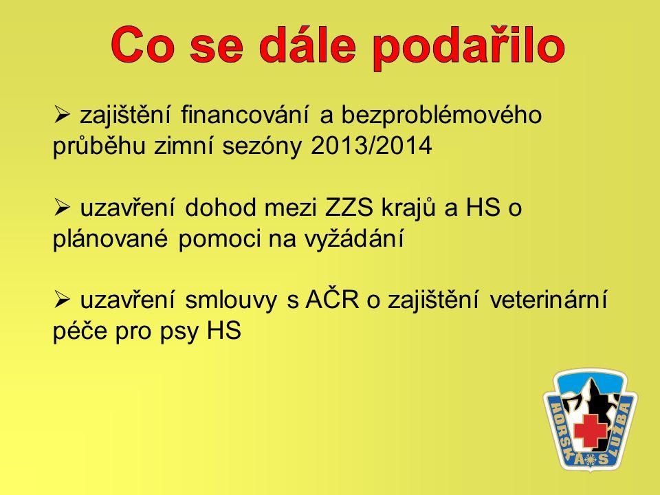  zajištění financování a bezproblémového průběhu zimní sezóny 2013/2014  uzavření dohod mezi ZZS krajů a HS o plánované pomoci na vyžádání  uzavření smlouvy s AČR o zajištění veterinární péče pro psy HS