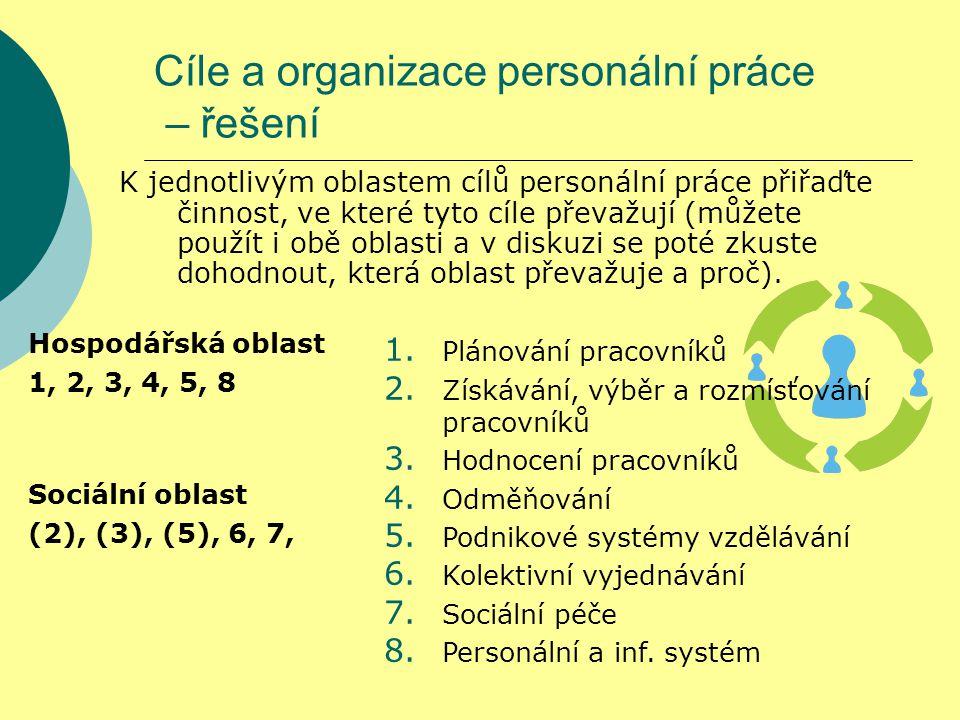 Cíle a organizace personální práce – řešení K jednotlivým oblastem cílů personální práce přiřaďte činnost, ve které tyto cíle převažují (můžete použít