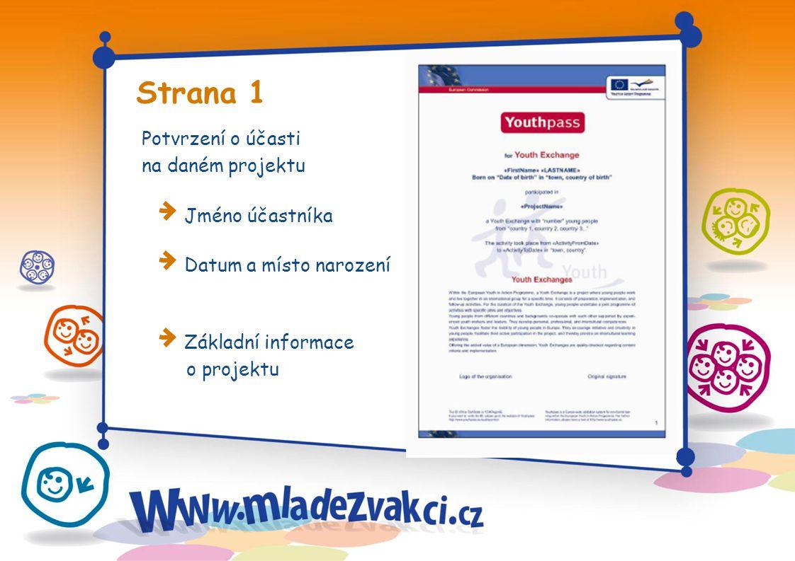 Strana 1 Potvrzení o účasti na daném projektu Jméno účastníka Datum a místo narození Základní informace o projektu