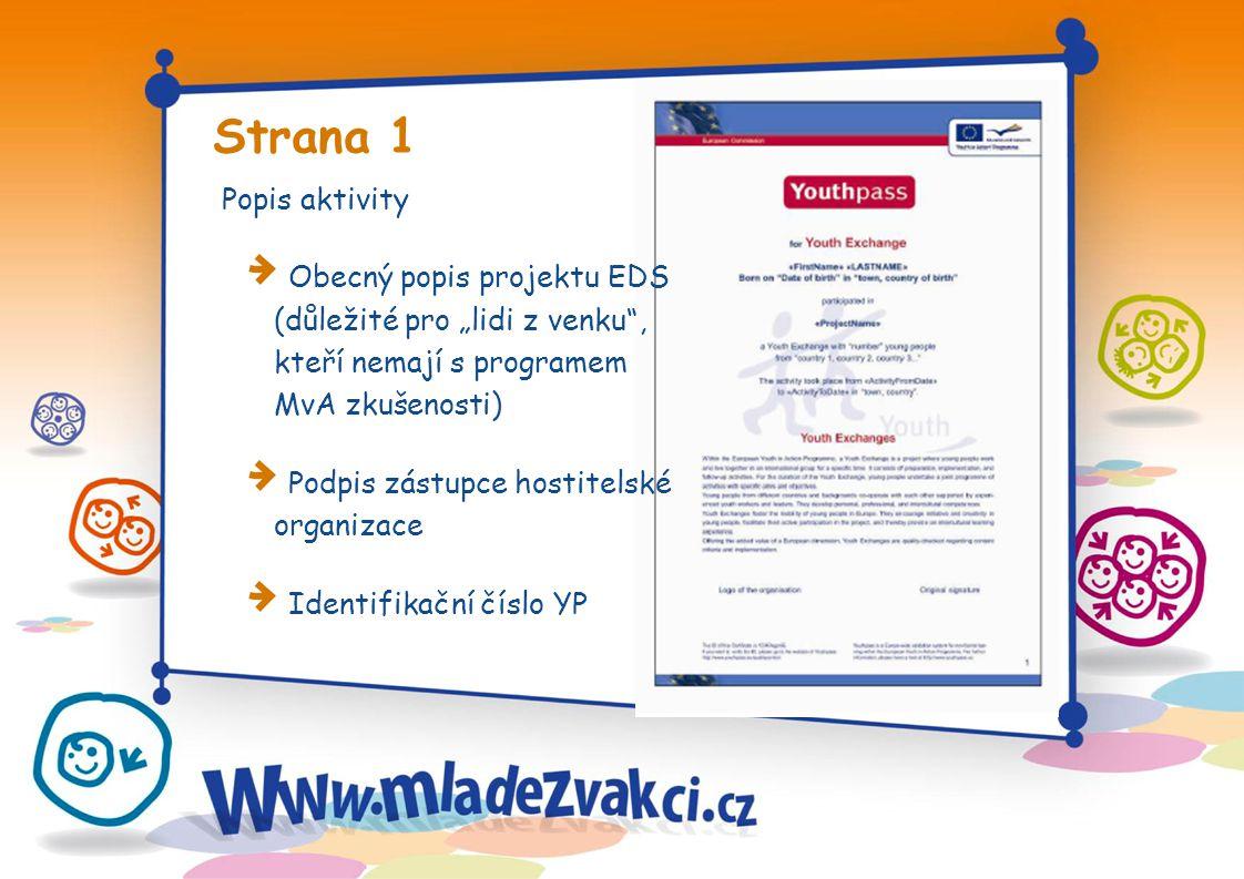 """Strana 1 Popis aktivity Obecný popis projektu EDS (důležité pro """"lidi z venku , kteří nemají s programem MvA zkušenosti) Podpis zástupce hostitelské organizace Identifikační číslo YP"""