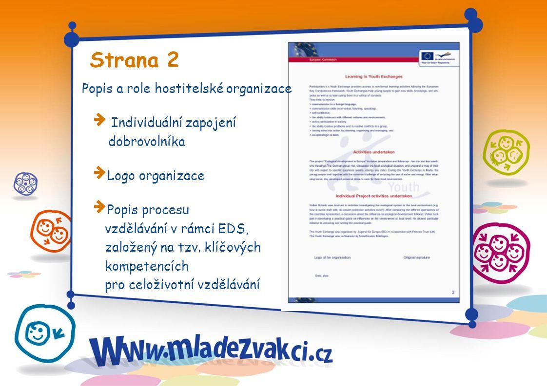 Strana 2 Popis a role hostitelské organizace Individuální zapojení dobrovolníka Logo organizace Popis procesu vzdělávání v rámci EDS, založený na tzv.