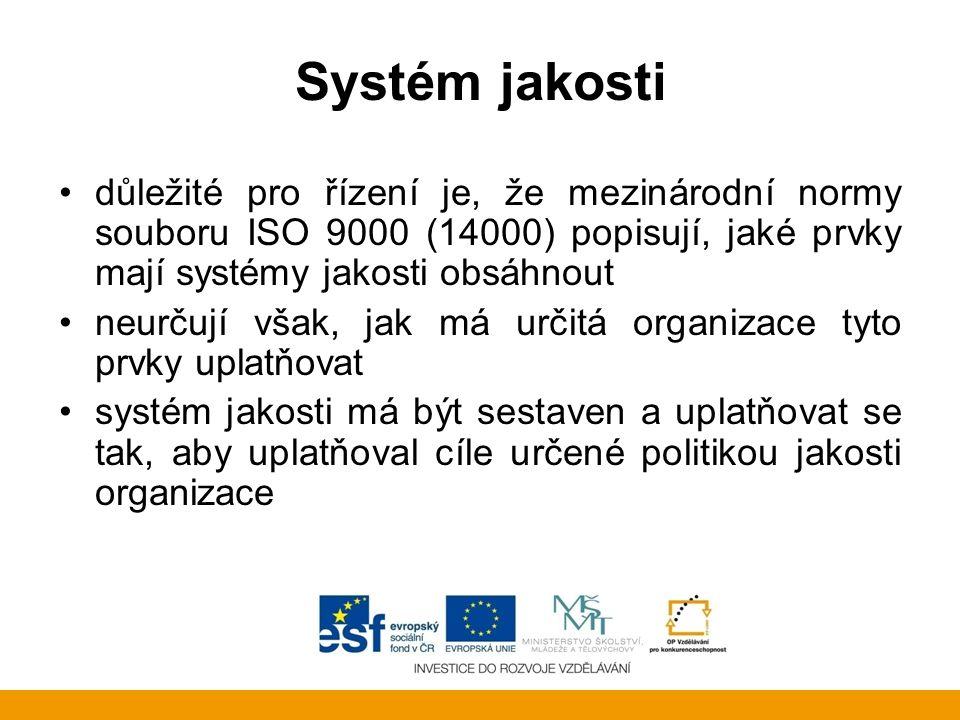 Systém jakosti důležité pro řízení je, že mezinárodní normy souboru ISO 9000 (14000) popisují, jaké prvky mají systémy jakosti obsáhnout neurčují však