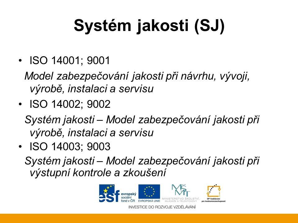 Systém jakosti (SJ) ISO 14001; 9001 Model zabezpečování jakosti při návrhu, vývoji, výrobě, instalaci a servisu ISO 14002; 9002 Systém jakosti – Model