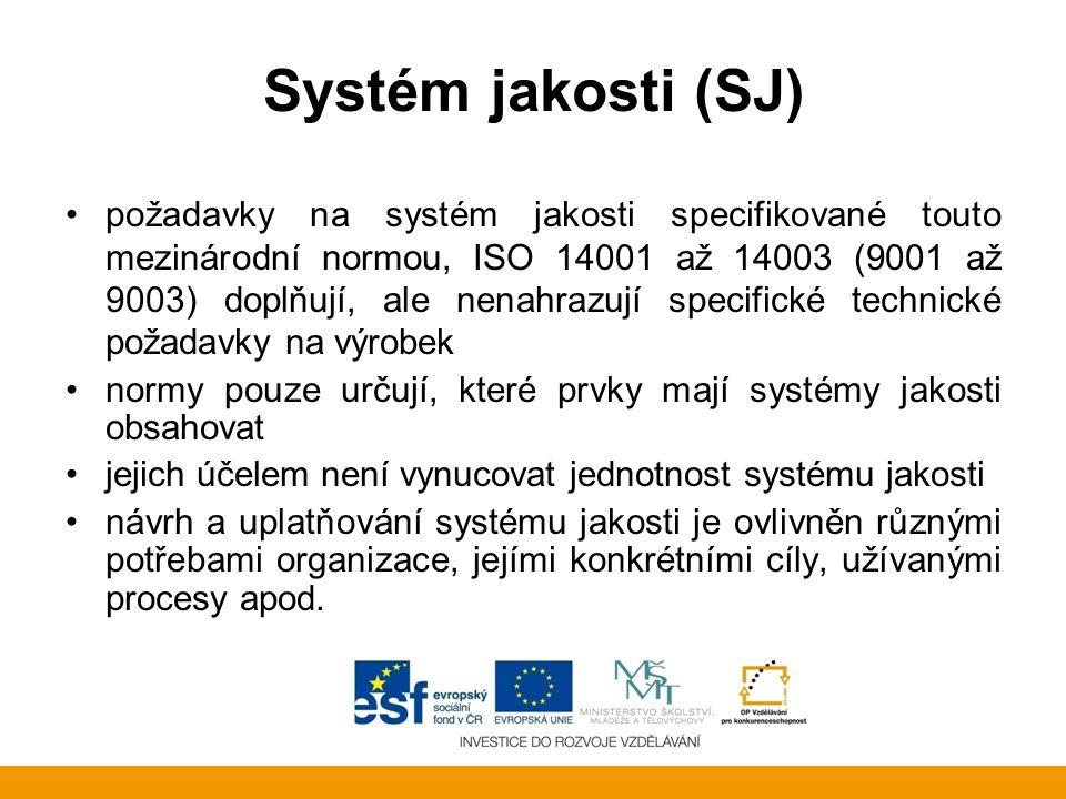 Systém jakosti (SJ) požadavky na systém jakosti specifikované touto mezinárodní normou, ISO 14001 až 14003 (9001 až 9003) doplňují, ale nenahrazují sp