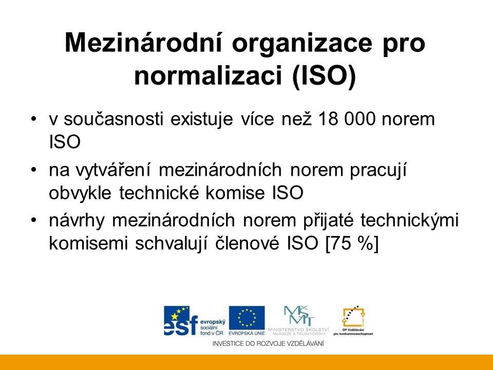 Mezinárodní organizace pro normalizaci (ISO) v současnosti existuje více než 18 000 norem ISO na vytváření mezinárodních norem pracují obvykle technic