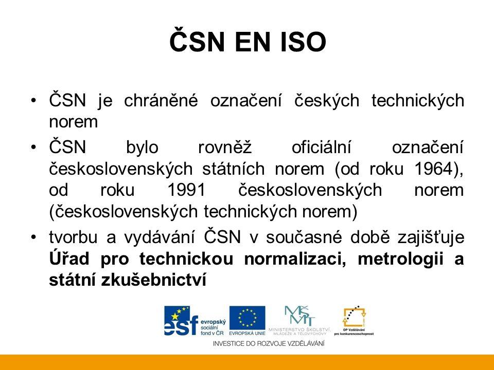 ČSN EN ISO zkratka ČSN původně znamenala Československá státní norma, později Československá norma po osamostatnění České republiky bylo označení ČSN zachováno a zákon závazný výklad zkratky neobsahuje neoficiálně se její význam vykládá slovy Česká soustava norem zákonem chráněné výlučné slovní označení je Česká technická norma