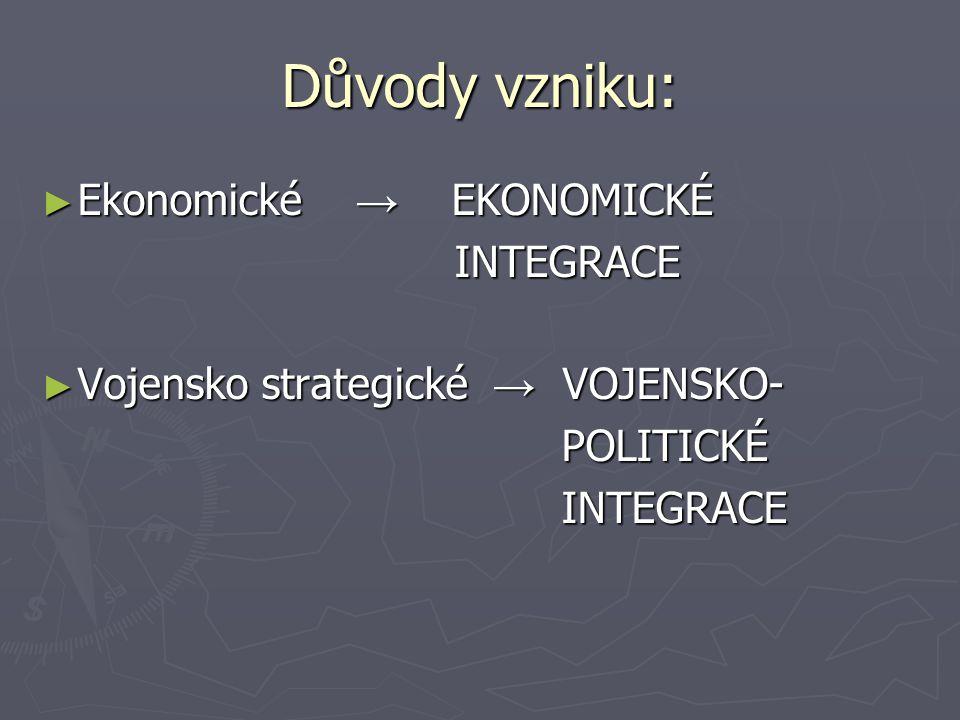 Důvody vzniku: ► Ekonomické → EKONOMICKÉ INTEGRACE INTEGRACE ► Vojensko strategické → VOJENSKO- POLITICKÉ POLITICKÉ INTEGRACE INTEGRACE