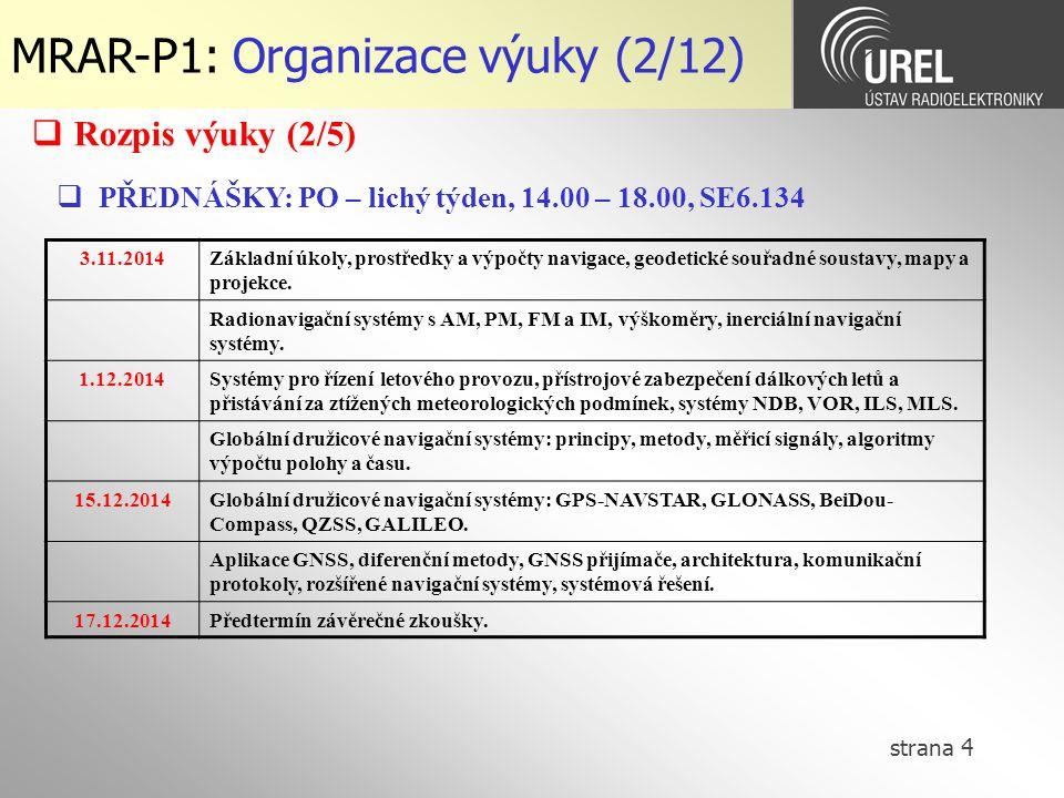 strana 5 MRAR-P1: Organizace výuky (3/12)  LABORATORNÍ CVIČENÍ: PO – sudý týden, SE7.109 29.9.2014Cvičení 1 - úloha 5 13.10.2014Cvičení 2 - úlohy 1-4 10.11.2014Cvičení 3 - úlohy 1-4 24.11.2014Cvičení 4 - úlohy 1-4 8.12.2014Cvičení 5 - úlohy 1-4 Úloha 5GPS v terénu Úloha 1Dopplerovský CW radar, multisenzorová měření Úloha 2Inerciální navigační systémy Úloha 3Navigační systémy pro civilní letectví Úloha 4Družicové navigační systémy  Rozpis výuky (3/5) Náhrady během semestru