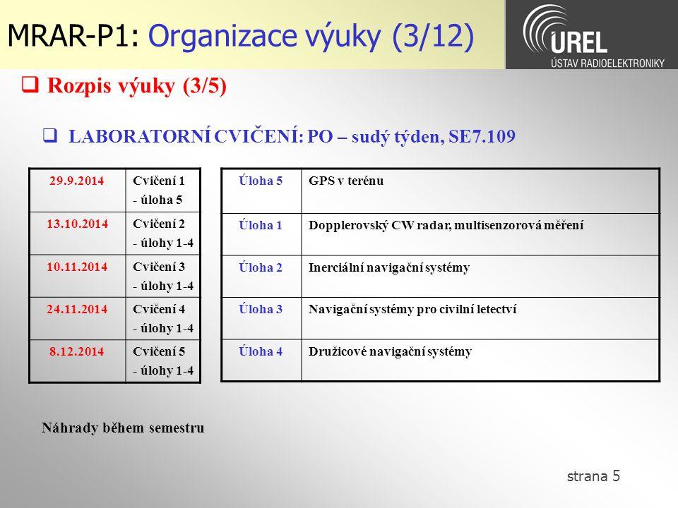 strana 5 MRAR-P1: Organizace výuky (3/12)  LABORATORNÍ CVIČENÍ: PO – sudý týden, SE7.109 29.9.2014Cvičení 1 - úloha 5 13.10.2014Cvičení 2 - úlohy 1-4