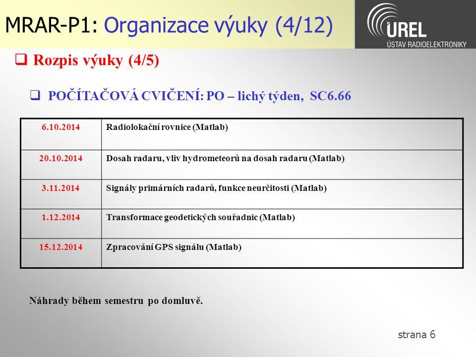 strana 6 MRAR-P1: Organizace výuky (4/12)  POČÍTAČOVÁ CVIČENÍ: PO – lichý týden, SC6.66 6.10.2014Radiolokační rovnice (Matlab) 20.10.2014Dosah radaru