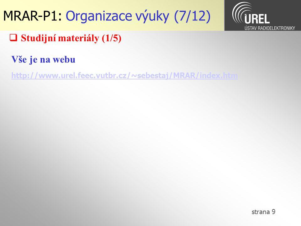 strana 9 MRAR-P1: Organizace výuky (7/12) Vše je na webu http://www.urel.feec.vutbr.cz/~sebestaj/MRAR/index.htm  Studijní materiály (1/5)