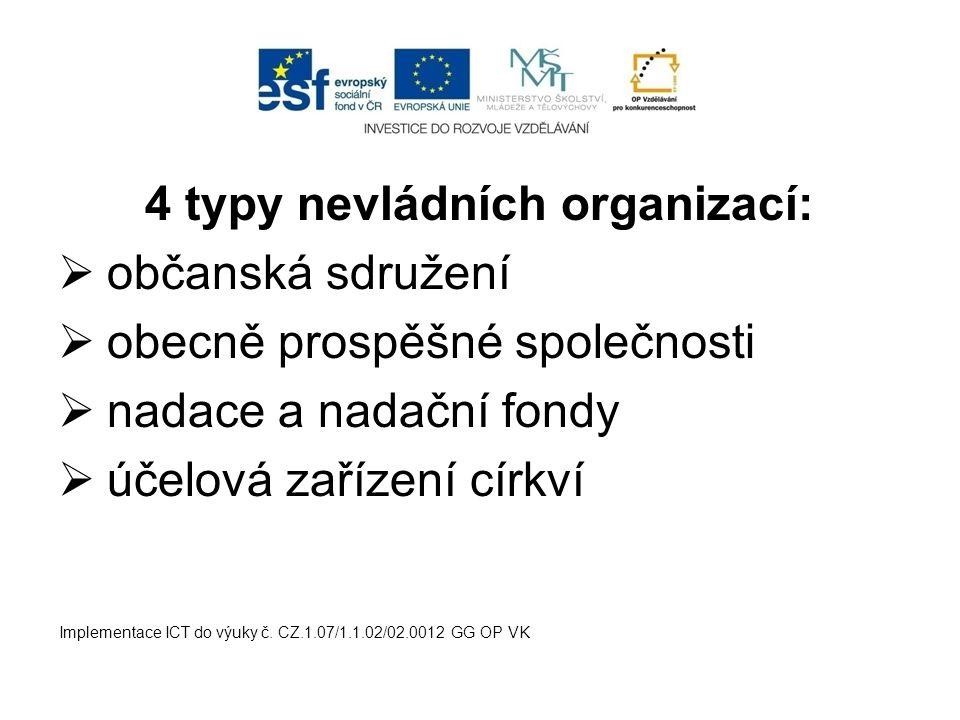 4 typy nevládních organizací:  občanská sdružení  obecně prospěšné společnosti  nadace a nadační fondy  účelová zařízení církví Implementace ICT do výuky č.