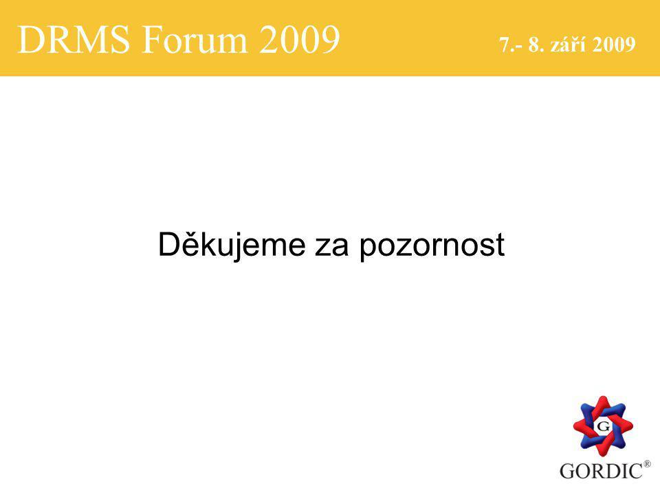 DRMS Forum 2009 7.- 8. září 2009 Děkujeme za pozornost