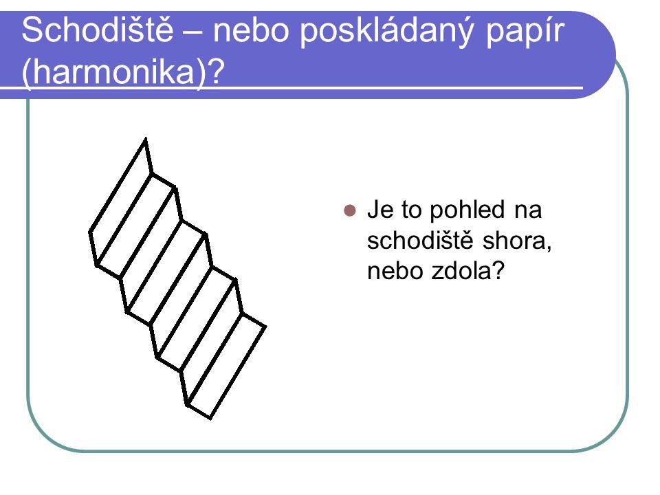 Schodiště – nebo poskládaný papír (harmonika)? Je to pohled na schodiště shora, nebo zdola?