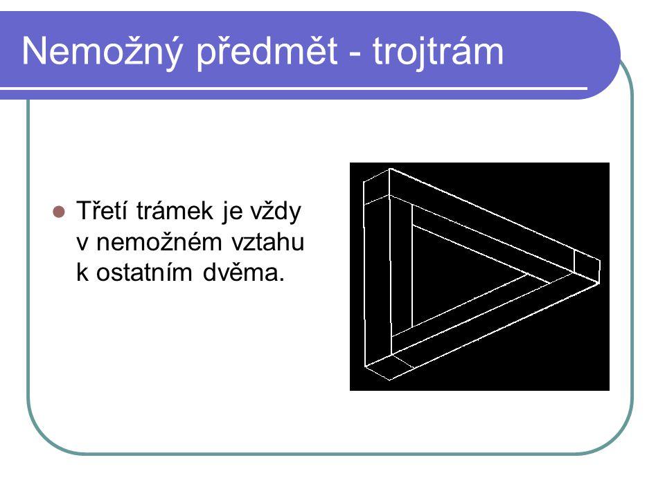 Nemožný předmět - trojtrám Třetí trámek je vždy v nemožném vztahu k ostatním dvěma.