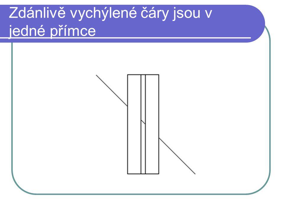 Zdánlivě vychýlené čáry jsou v jedné přímce