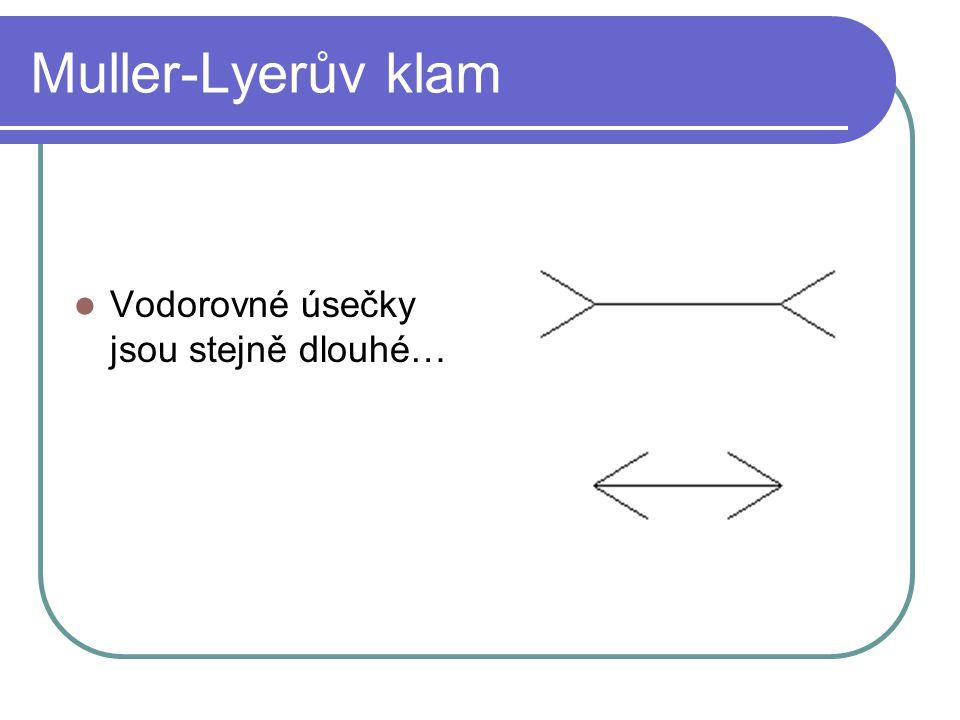 Muller-Lyerův klam Vodorovné úsečky jsou stejně dlouhé…