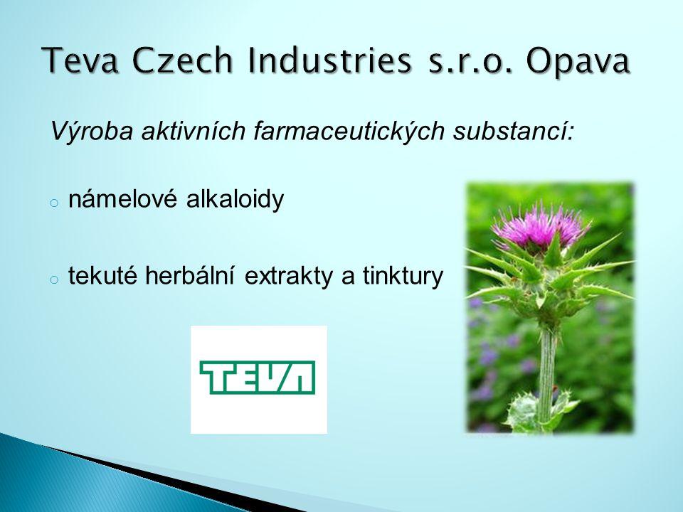 Výroba aktivních farmaceutických substancí: o námelové alkaloidy o tekuté herbální extrakty a tinktury