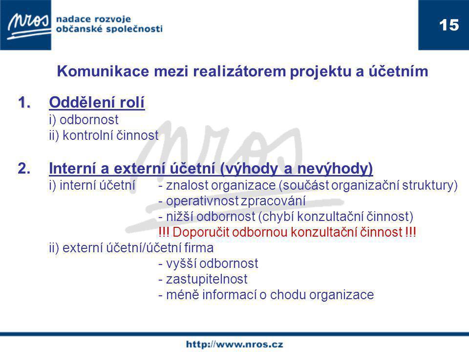 1. 1.Oddělení rolí i) odbornost ii) kontrolní činnost 2.Interní a externí účetní (výhody a nevýhody) i) interní účetní - znalost organizace (součást o