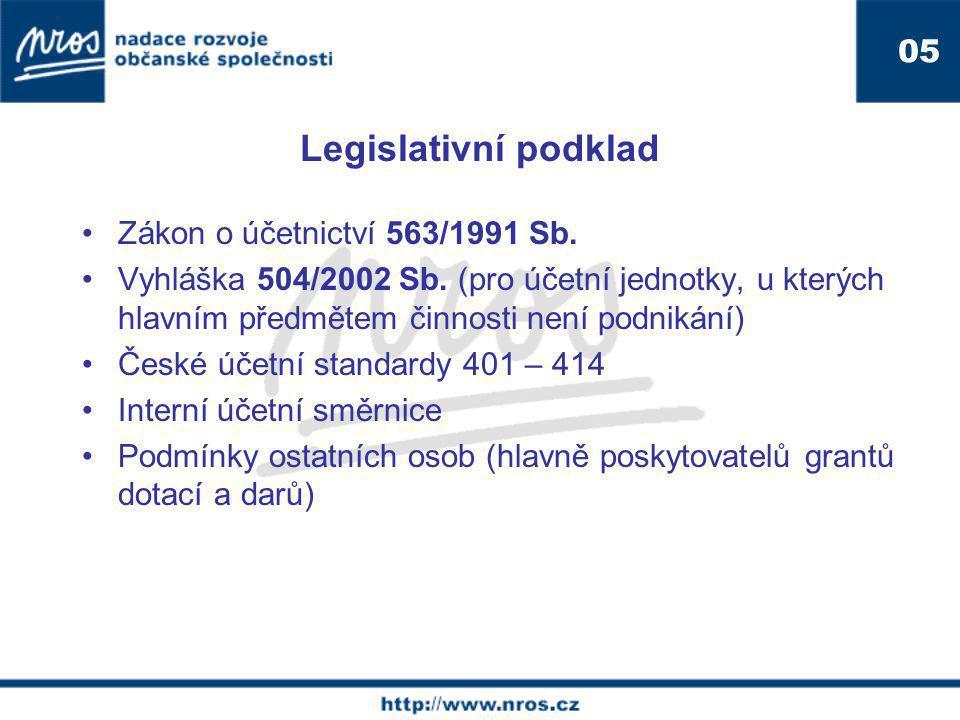 Legislativní podklad Zákon o účetnictví 563/1991 Sb. Vyhláška 504/2002 Sb. (pro účetní jednotky, u kterých hlavním předmětem činnosti není podnikání)