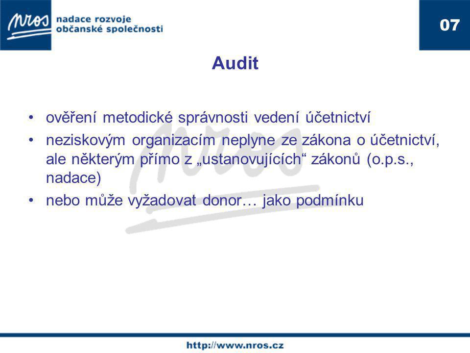 """Audit ověření metodické správnosti vedení účetnictví neziskovým organizacím neplyne ze zákona o účetnictví, ale některým přímo z """"ustanovujících zákonů (o.p.s., nadace) nebo může vyžadovat donor… jako podmínku 07"""