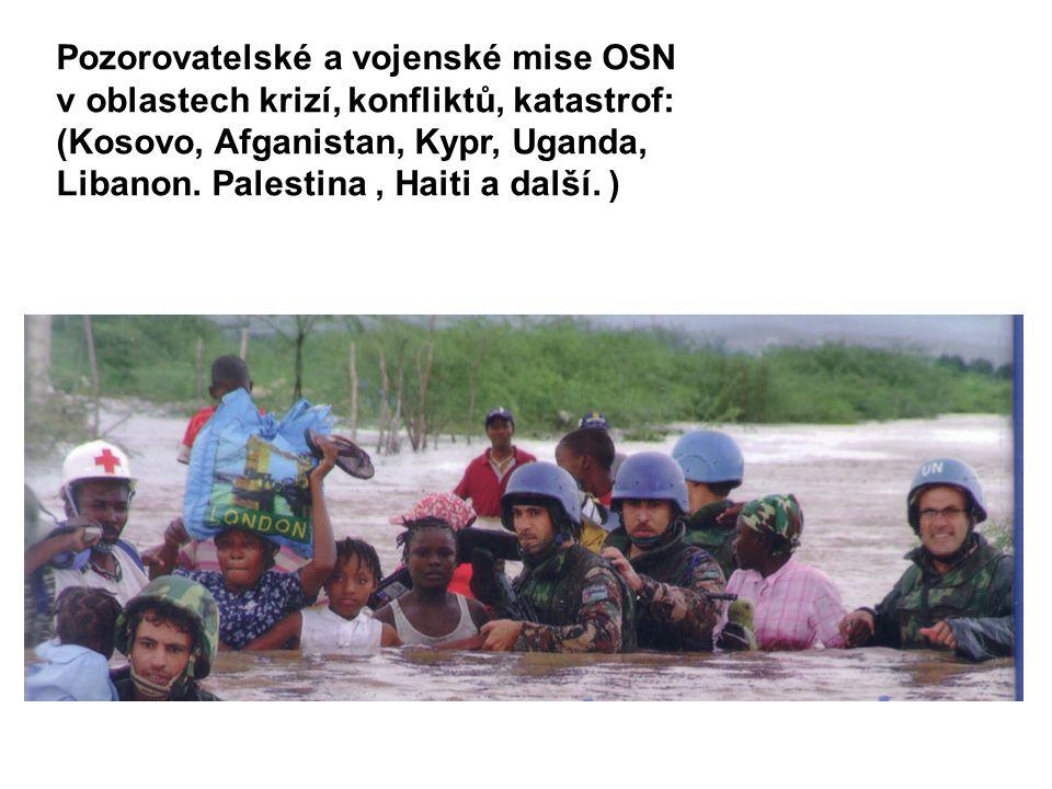 Pozorovatelské a vojenské mise OSN v oblastech krizí, konfliktů, katastrof: (Kosovo, Afganistan, Kypr, Uganda, Libanon. Palestina, Haiti a další. )
