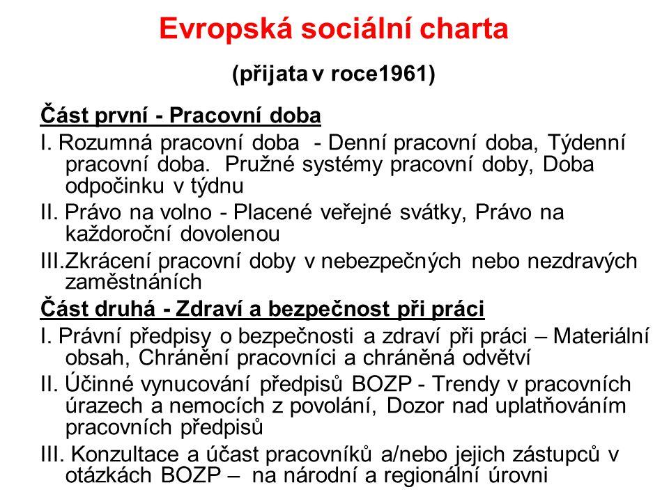Evropská sociální charta (přijata v roce1961) Část první - Pracovní doba I. Rozumná pracovní doba - Denní pracovní doba, Týdenní pracovní doba. Pružné