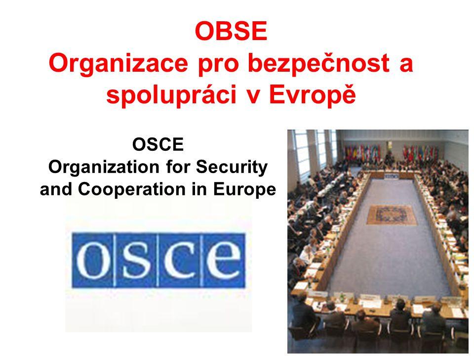 Vznik a charakteristika Vznikla 1.1.1995 jako pokračování Konference o spolupráci a bezpečnosti v Evropě Jejími členy je 55 zemí včetně ČR, ale také USA a Kanada.