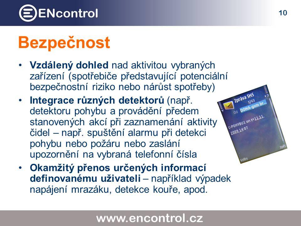 10 Bezpečnost Vzdálený dohled nad aktivitou vybraných zařízení (spotřebiče představující potenciální bezpečnostní riziko nebo nárůst spotřeby) Integrace různých detektorů (např.