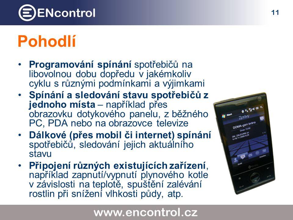 11 Pohodlí Programování spínání spotřebičů na libovolnou dobu dopředu v jakémkoliv cyklu s různými podmínkami a výjimkami Spínání a sledování stavu spotřebičů z jednoho místa – například přes obrazovku dotykového panelu, z běžného PC, PDA nebo na obrazovce televize Dálkové (přes mobil či internet) spínání spotřebičů, sledování jejich aktuálního stavu Připojení různých existujících zařízení, například zapnutí/vypnutí plynového kotle v závislosti na teplotě, spuštění zalévání rostlin při snížení vlhkosti půdy, atp.