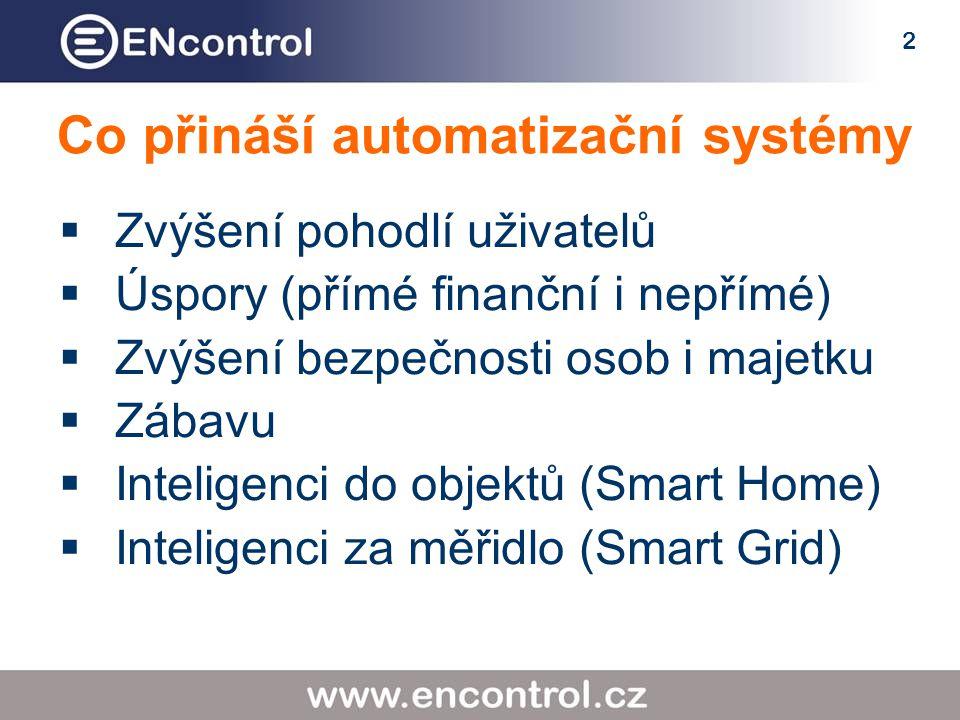 2 Co přináší automatizační systémy  Zvýšení pohodlí uživatelů  Úspory (přímé finanční i nepřímé)  Zvýšení bezpečnosti osob i majetku  Zábavu  Inteligenci do objektů (Smart Home)  Inteligenci za měřidlo (Smart Grid)