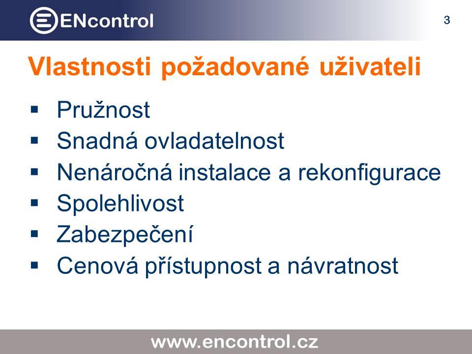 3 Vlastnosti požadované uživateli  Pružnost  Snadná ovladatelnost  Nenáročná instalace a rekonfigurace  Spolehlivost  Zabezpečení  Cenová přístupnost a návratnost