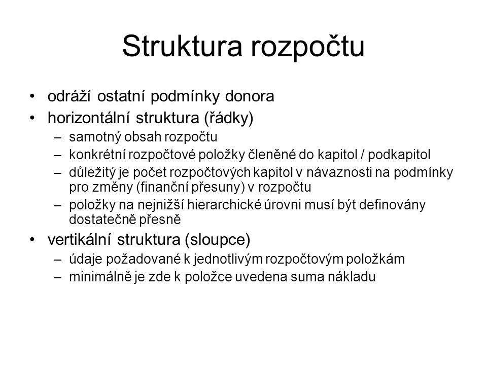 Struktura rozpočtu odráží ostatní podmínky donora horizontální struktura (řádky) –samotný obsah rozpočtu –konkrétní rozpočtové položky členěné do kapi