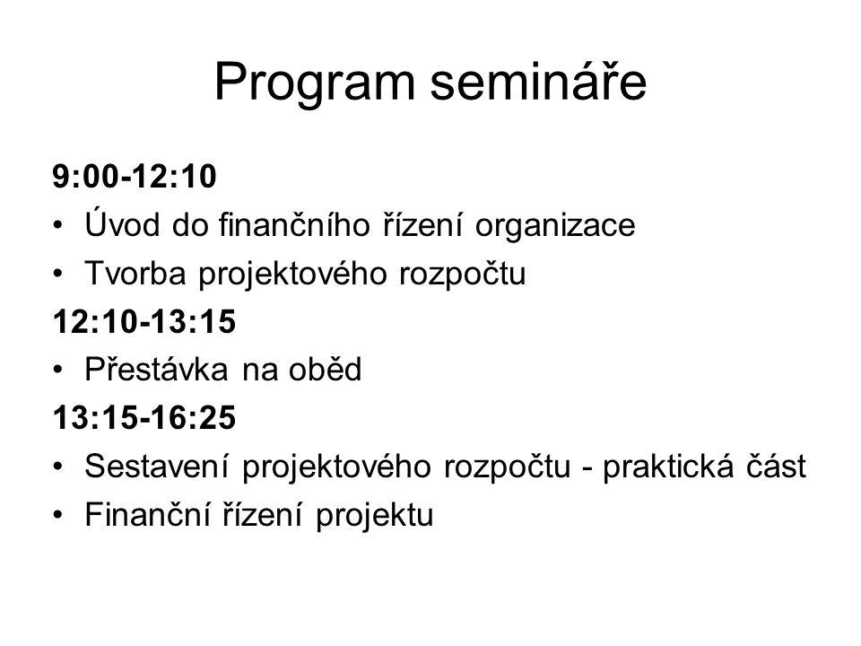 Program semináře 9:00-12:10 Úvod do finančního řízení organizace Tvorba projektového rozpočtu 12:10-13:15 Přestávka na oběd 13:15-16:25 Sestavení proj
