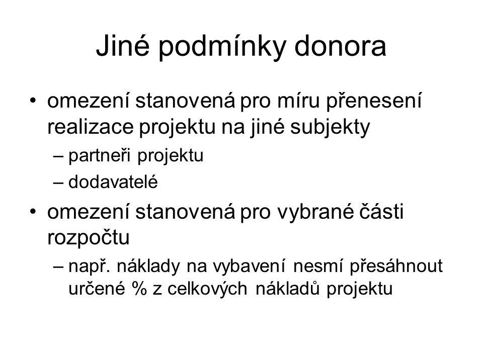Jiné podmínky donora omezení stanovená pro míru přenesení realizace projektu na jiné subjekty –partneři projektu –dodavatelé omezení stanovená pro vyb