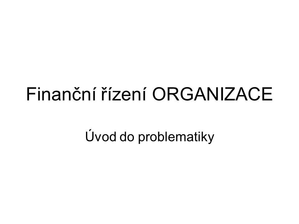 Finanční řízení ORGANIZACE Úvod do problematiky