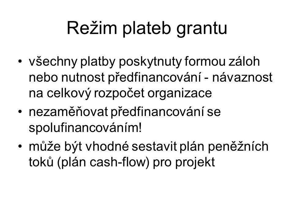 Režim plateb grantu všechny platby poskytnuty formou záloh nebo nutnost předfinancování - návaznost na celkový rozpočet organizace nezaměňovat předfin