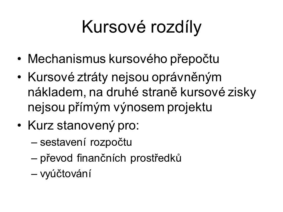Kursové rozdíly Mechanismus kursového přepočtu Kursové ztráty nejsou oprávněným nákladem, na druhé straně kursové zisky nejsou přímým výnosem projektu