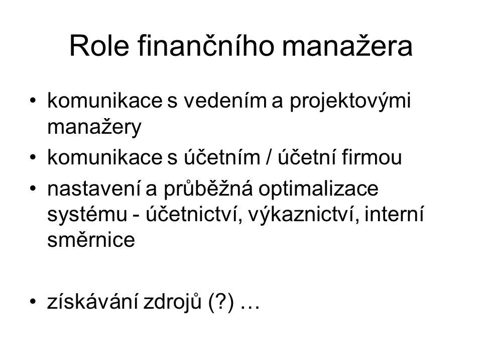 Role finančního manažera komunikace s vedením a projektovými manažery komunikace s účetním / účetní firmou nastavení a průběžná optimalizace systému -