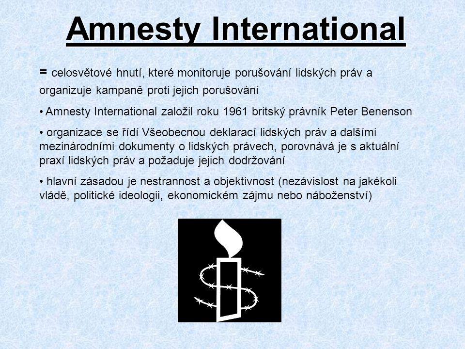 Amnesty International = celosvětové hnutí, které monitoruje porušování lidských práv a organizuje kampaně proti jejich porušování Amnesty International založil roku 1961 britský právník Peter Benenson organizace se řídí Všeobecnou deklarací lidských práv a dalšími mezinárodními dokumenty o lidských právech, porovnává je s aktuální praxí lidských práv a požaduje jejich dodržování hlavní zásadou je nestrannost a objektivnost (nezávislost na jakékoli vládě, politické ideologii, ekonomickém zájmu nebo náboženství)