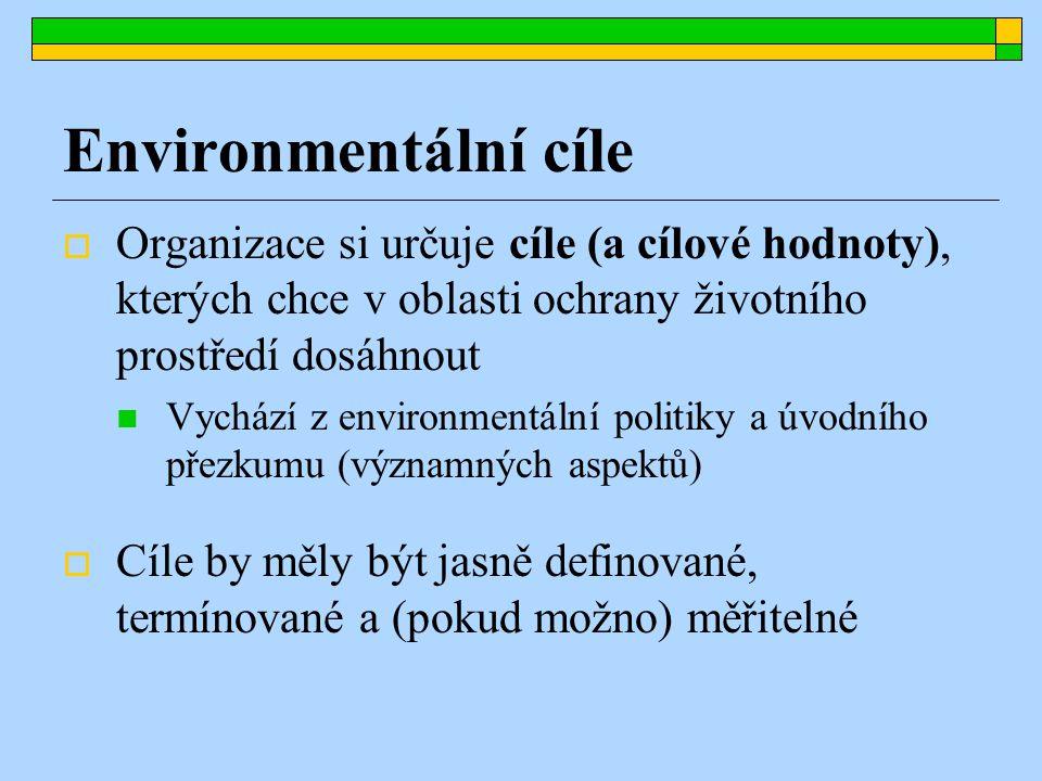Environmentální cíle  Organizace si určuje cíle (a cílové hodnoty), kterých chce v oblasti ochrany životního prostředí dosáhnout Vychází z environmentální politiky a úvodního přezkumu (významných aspektů)  Cíle by měly být jasně definované, termínované a (pokud možno) měřitelné