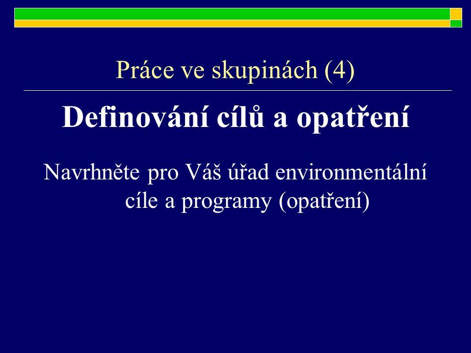 Práce ve skupinách (4) Definování cílů a opatření Navrhněte pro Váš úřad environmentální cíle a programy (opatření)