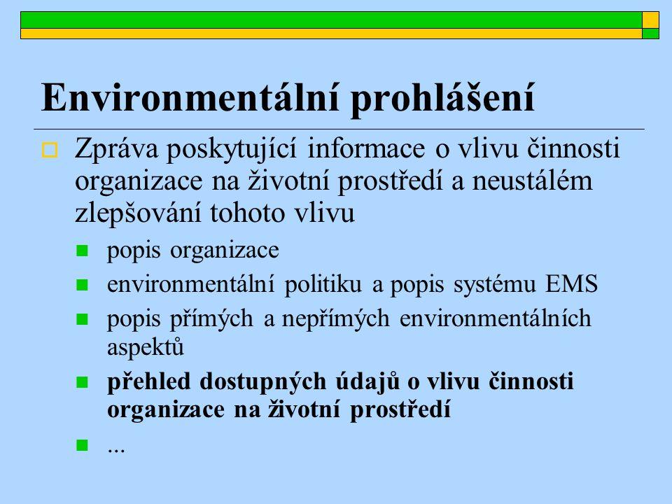 Environmentální prohlášení  Zpráva poskytující informace o vlivu činnosti organizace na životní prostředí a neustálém zlepšování tohoto vlivu popis organizace environmentální politiku a popis systému EMS popis přímých a nepřímých environmentálních aspektů přehled dostupných údajů o vlivu činnosti organizace na životní prostředí...