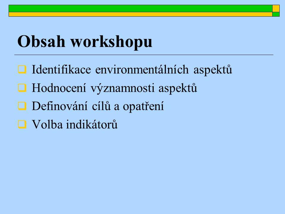  Identifikace environmentálních aspektů  Hodnocení významnosti aspektů  Definování cílů a opatření  Volba indikátorů Obsah workshopu