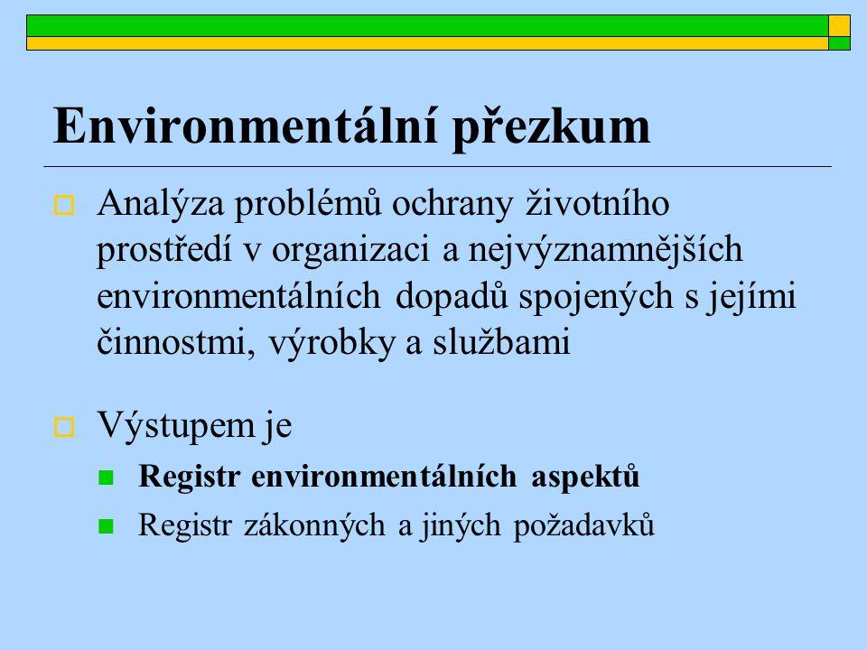 Environmentální přezkum  Analýza problémů ochrany životního prostředí v organizaci a nejvýznamnějších environmentálních dopadů spojených s jejími činnostmi, výrobky a službami  Výstupem je Registr environmentálních aspektů Registr zákonných a jiných požadavků