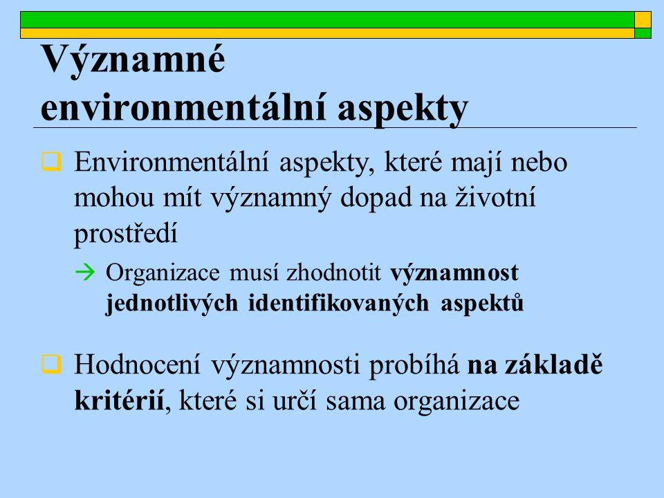 Environmentální aspekty, které mají nebo mohou mít významný dopad na životní prostředí  Organizace musí zhodnotit významnost jednotlivých identifikovaných aspektů  Hodnocení významnosti probíhá na základě kritérií, které si určí sama organizace Významné environmentální aspekty