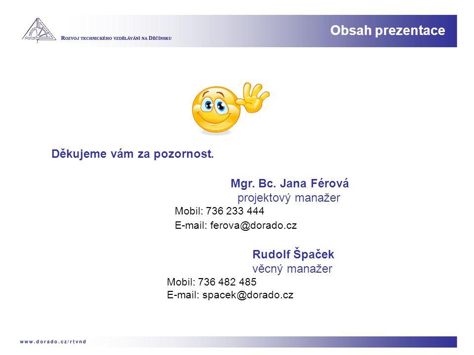 Obsah prezentace Děkujeme vám za pozornost. Mgr. Bc. Jana Férová projektový manažer Mobil: 736 233 444 E-mail: ferova@dorado.cz Rudolf Špaček věcný ma